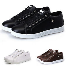mens sports shoes students casual leather solid flats non slip sneakers K4R1