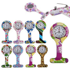 Patterned Silicone Nurses Brooch Tunic Fob Pocket Watch Stainless Dial Gift