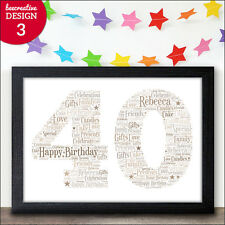 Personalised 40th Birthday Gifts - 40th Birthday Present For Him Her Keepsake