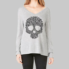 Womens Long Sleeve Tops - T Shirt, V Neck Shirts, Skull Flower Tee, Bella Flowy