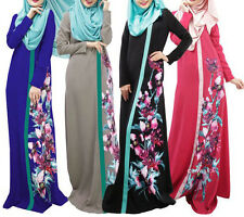 Women Maxi Islamic Muslim Kaftan Abaya Jilbab Flower Long Sleeve Maxi Dresses