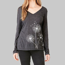 Womens Long Sleeve Tops - Shirts, V Neck T Shirt, Dandelion Flower, Bella Flowy