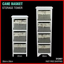 Cane Wicker Basket Shelf Storage Tower Chest Of Drawers Vintage Bedroom White