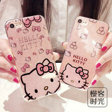For iPhone 8 8 Plus 6 6S Cute Cartoon Hello Kitty Bling Glitter Soft Case Cover