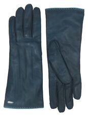 COACH Cashmere Lined Gloves Womens Morrocan Dark Blue Leather Logo Winter 83875