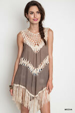 New Umgee Womens Tunic Dress Mocha Tan Crochet Fringe Boho Style Hippy S M L