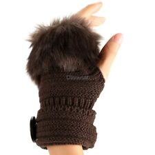 Fashion Winter Warm Women Button Faux Fur Knit Crochet Fingerless Gloves OK01