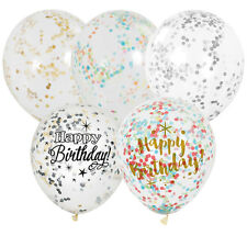"""12"""" Clear with Confetti Latex Balloons - Various Designs - Plain & Birthday (6)"""