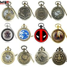Antique Steampunk Retro Vintage Pocket Watch Quartz Pendant Necklace Chain NEW