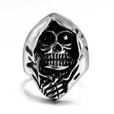 Silver Punk Rock Skull Head Stainless Steel Ring Gothic Biker Mens Jewelry Band