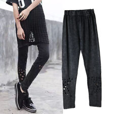 Ladies Black Punk Gothic Sexy Cotton Hollow Elastic Leggings Pants Rock Comfort