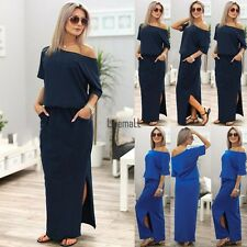Sexy Womens Short Sleeve Loose Cocktail Ladies Summer Party Long Maxi Dress LM