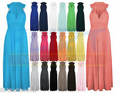 LADIES LONG STRETCH WOMENS MAXI DRESS SPRING COIL EVENING DRESSES 6 8 10 12 14