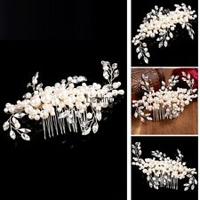 Fashion Women Romantic Jewelry Leaves Artificial Pearl Hair Combs Hair LEBB