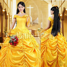 Adult Belle Costume Ladies Cosplay Princess Dresses Ball Gown Fancy Dress 12 14