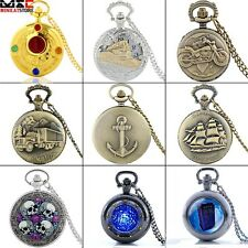 Vintage Steampunk Mens Pendant Antique Pocket Watch Quartz Necklace Classic Gift