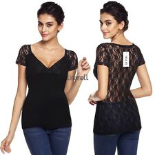 Women Sexy V-Neck Short Sleeve Lace Patchwork See-through Slim Blouse Tops LM