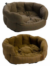 Petface Luxury Herringbone Tweed Oval Dog Bed Sherpa Fleece Cushion Puppy Basket