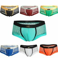 Fashion Mens Boxer Briefs Shorts Openwork Underwear Bulge Pouch Mesh Underpants