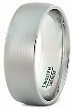 8mm Tungsten Ring Brushed Classic Dome Mens Wedding Band Comfort Fit