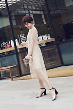 New Fashion Chic Women's Patent Lether  Square Toe Pilgrim Block Heel Strap