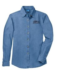 LOVE MY GERMAN SHORTHAIRED POINTER LADIES EMBROIDERED LONG SLEEVE DENIM SHIRT