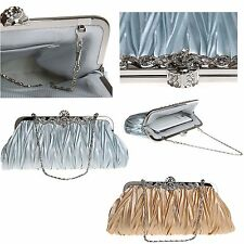 Womens Ladies Evening Satin Diamante Bridal Prom Party Clutch Bag Handbag Purse