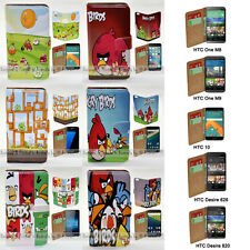 For HTC U Play U Ultra Desire 530 Angry Birds Print Flip Wallet Phone Case Cover