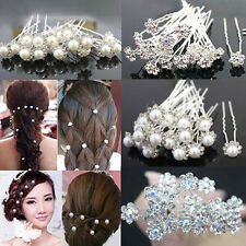 20Pcs Wedding Bridal Faux Pearl Rhinestone Flower Hairpins Hair Clips Fashion