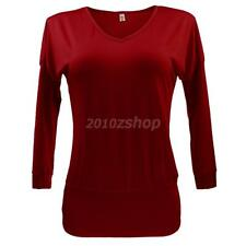 Sexy Womens V Neck Long Sleeve Basic Tunic Top Blouse Shirts Red Color S-XL