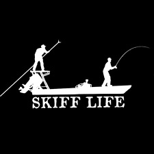 Skiff Life Poling Skiff Car Decal, Poling Flats Boat Stickers w/ Skiff Life text
