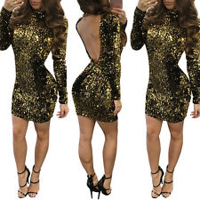 Women Sexy Backless Long Sleeve Sequin Bodycon Evening Party Club Mini Dress