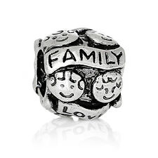 Silver Plated Love Family Mom Dad European Slide Bead Charm fits Charm Bracelets
