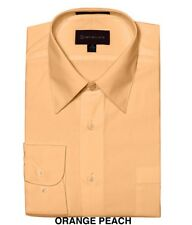 MEN DRESS SHIRTS BY DIMENSION FORMAL SOLID COLOR BUSINESS SHIRTS PEACH