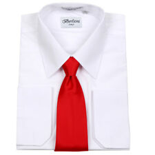 Men's Formal French Cuff Tie Set White Business Shirt and Red Tie By Berlioni
