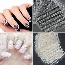 30 Sheets 3D Lace Nail Art Stickers Black White DIY Tips Decal Manicure Tools XG