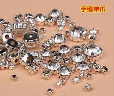 3mm-10mm Glass Round Clear Crystal Pointed Back Chaton Sew On Rhinestones