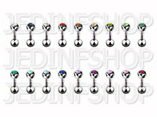 Straight Barbell Tongue Nipple Bar - 1.6mm (14g) - 6mm - Single or Double Gem