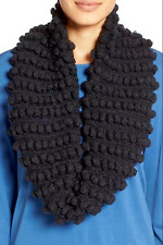 NWT Eileen Fisher Hand-Knit Popcorn Infinity Scarf in Charcoal