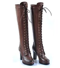 womens knee boot gothic wingtip leather zipper high heel platform lace up shoes