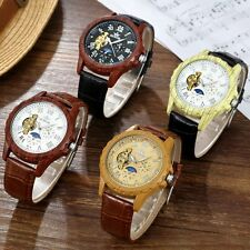 Mens Moon Face Leather Skeleton Automatic Mechanical Sport Stainless Steel Watch