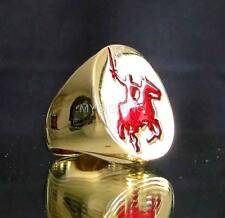 KING ARTHUR'S BRONZE RING ATTACKING KNIGHT ON HORSE MEDIEVAL DARK RED