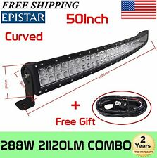 50inch Curved Off Road 288W LED Lamp Work Light Bar SUV Jeep 4WD 4X4+Harness kit