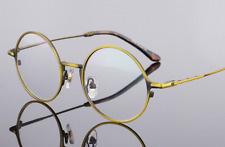 Vintage round Eyeglasses Frame metal mens women Spectacles Plain Glasses Rx able