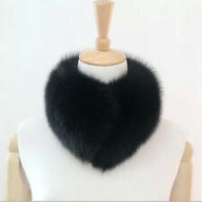 Real Fox Fur Collar Women Scarf Shawl Stole Wrap Furry Neck Warmer Black&White
