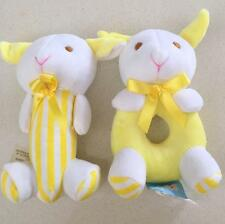 Plush Cuddly Yellow Dog Toy Rattle Soft Toy for Baby Cute Gift - Set of two