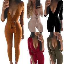 Sexy Womens V Neck Playsuit Bodycon Party Jumpsuit&Romper Long Trousers Clubwear