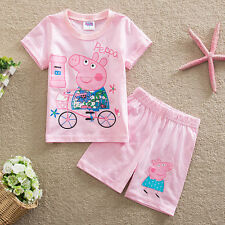 Peppa Pig Girls Toddler Kid's Sweet Short Sleeve + Shorts 2PC Set Outfit Clothes