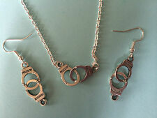 TIBETAN SILVER HANDCUFF EARRINGS NECKLACE FIFTY SHADES GOTHIC valentine gift