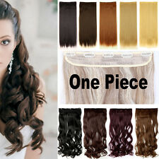 Thick Layered Half Full Head Clip in Hair Extensions Hairpiece 5 Clips Blonde tl
